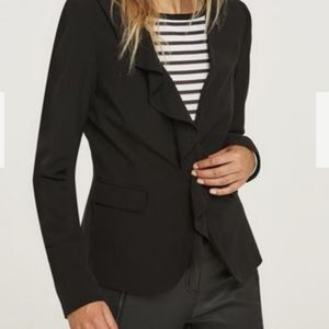 Long Tall Sally Black Ruffle Front Blazer 10